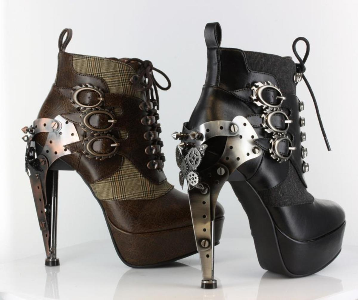 Steam Punk, clock inspired heels screwed together