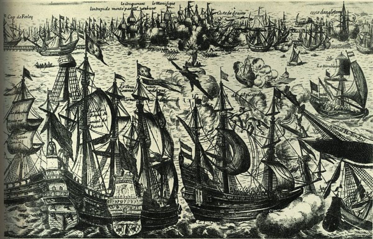Print of the Battle of Beachy Head fought during the War of the Grand Alliance in 1690 and won by the French navy