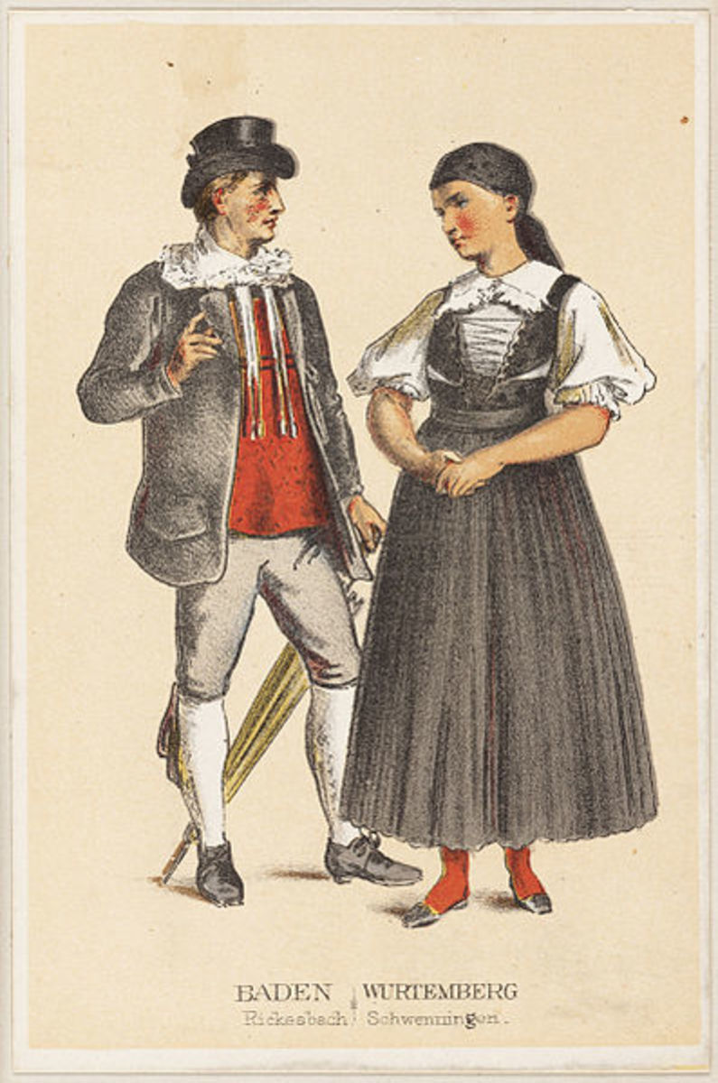 Illustration mid-1800s of peasants from the southwestern Germany