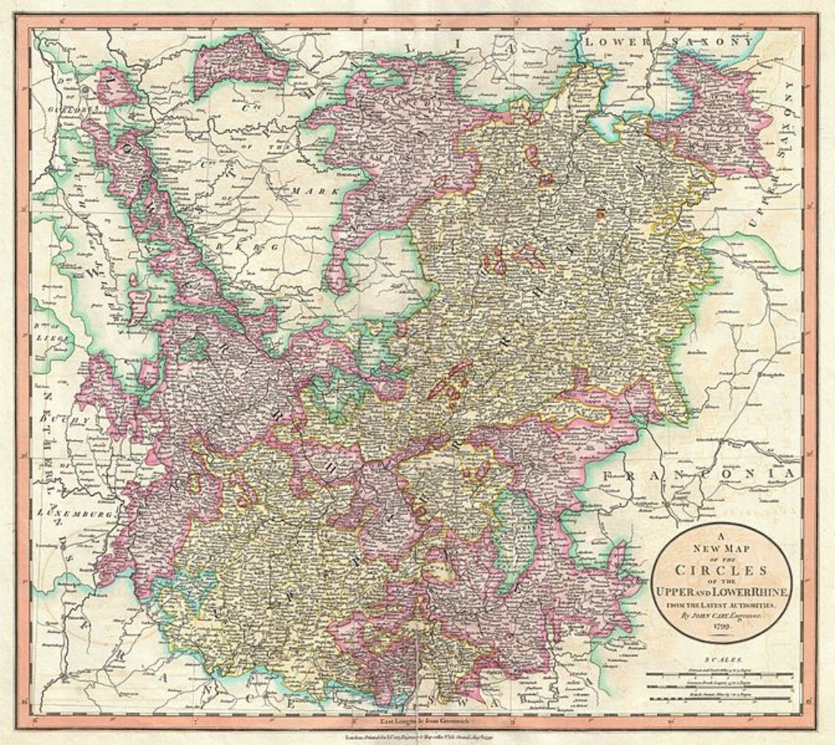 1799 map of the Rhine region of Germany