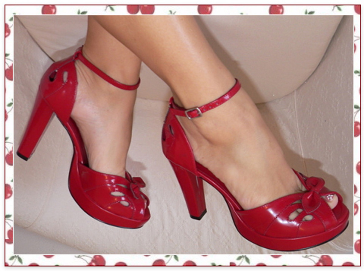 Red high heel sandals.