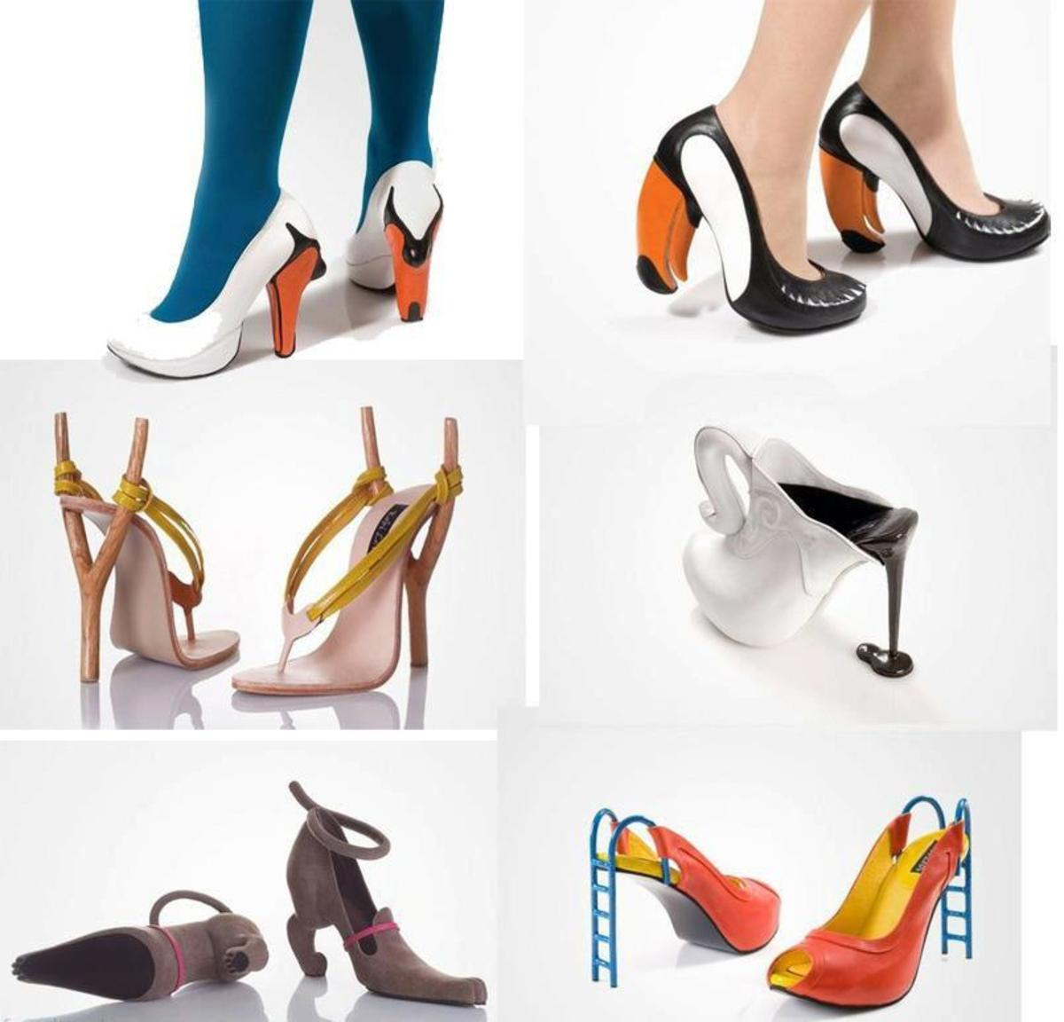 Unique high heels can inspire you or make you laugh.