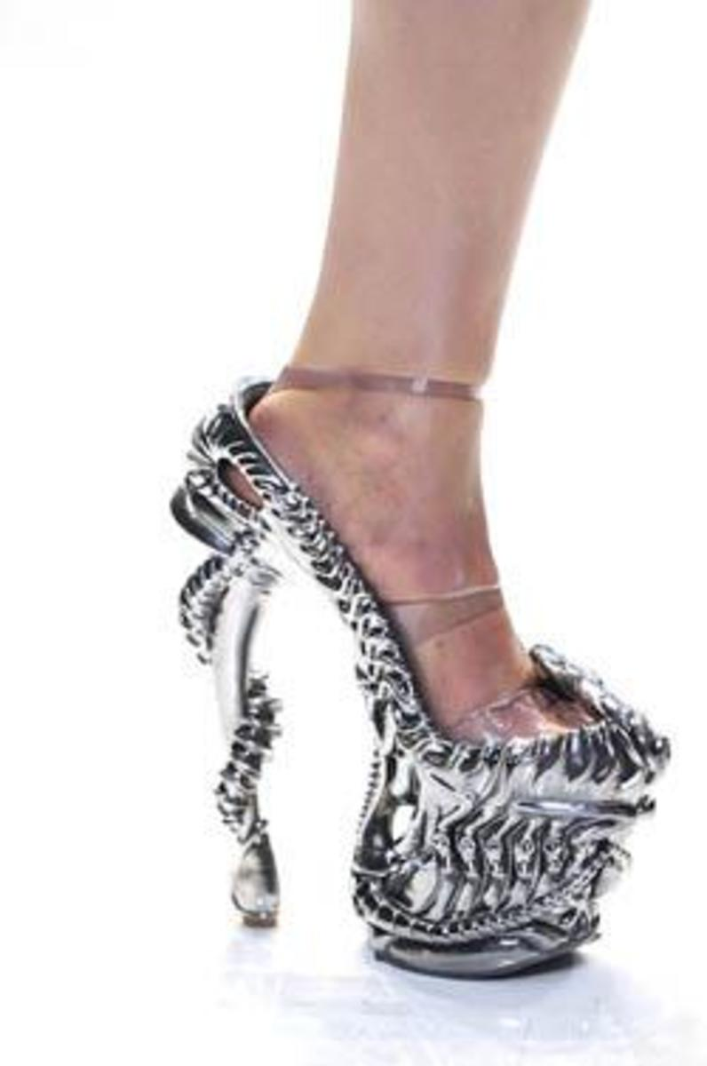 Terminator style shoes. Want to keep an eye on the lady wearing such killer heels.