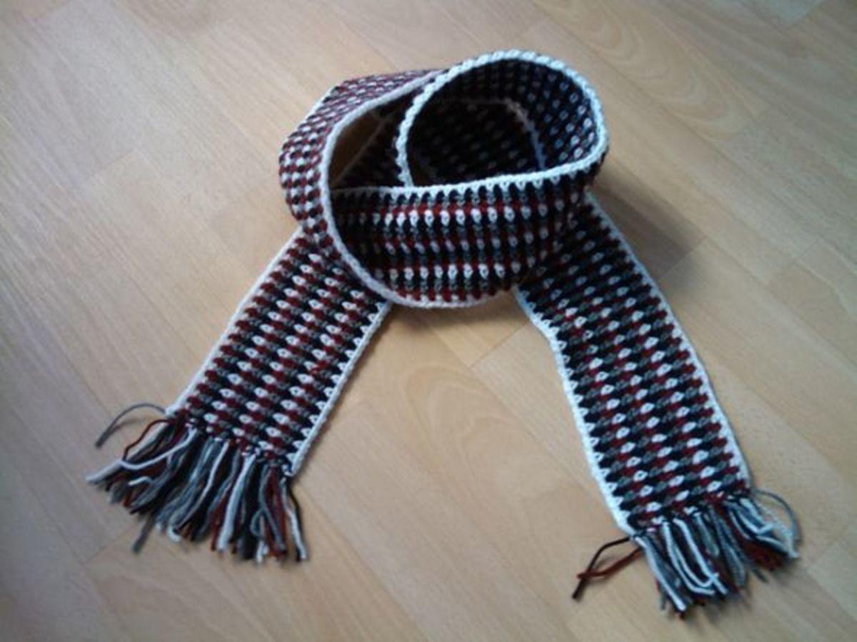Crochet Faux Woven Scarf