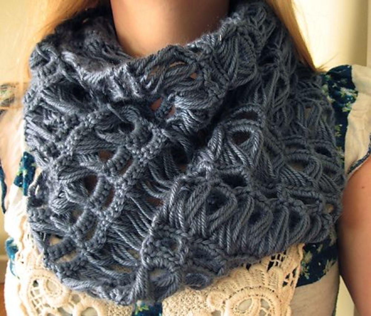 Crochet Lacy Infinity Scarf