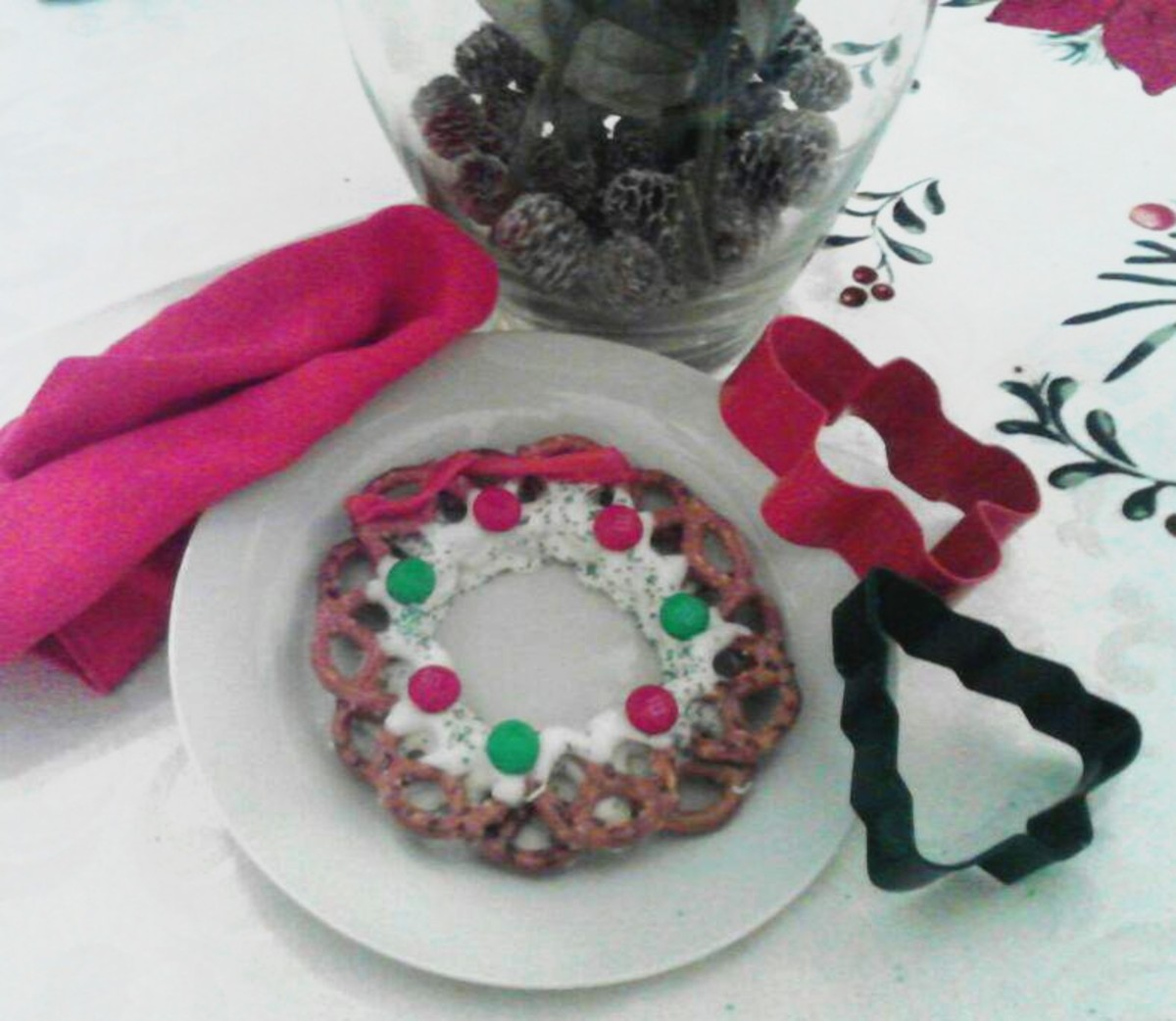 Easy and Edible Christmas Pretzel Wreath