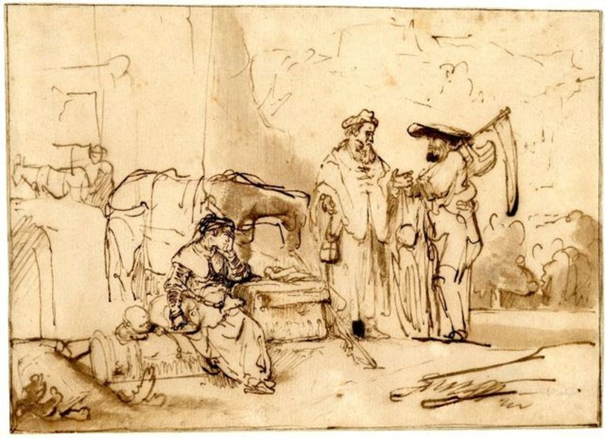 Drawing by Rembrandt: The Man of Gibeah Offers Hospitality to the Levite and his Concubine. circa 1642-1646. pen and brown ink on paper. 18 × 24.7 cm (7.1 × 9.7 in). London, British Museum.