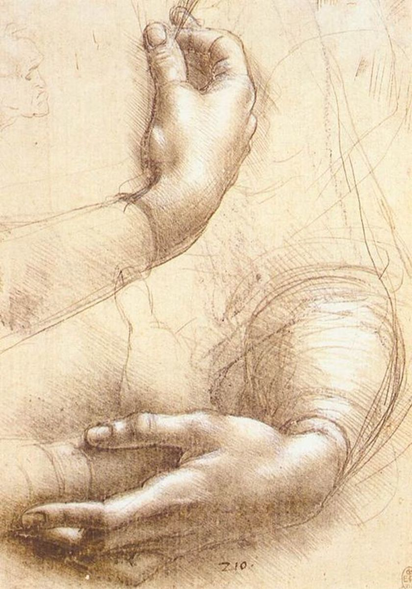 Study of hands by Leonardo Da Vinci - Silverpoint and white highlights on pink prepared paper - circa1474