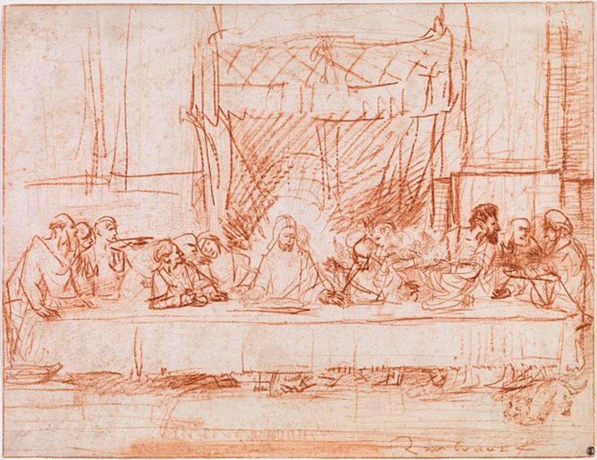 The Last Supper, After Leonardo da Vinci. circa 1635. Red chalk on paper. 36.2 × 47.5 cm (14.3 × 18.7 in). New York City, Metropolitan Museum of Art.