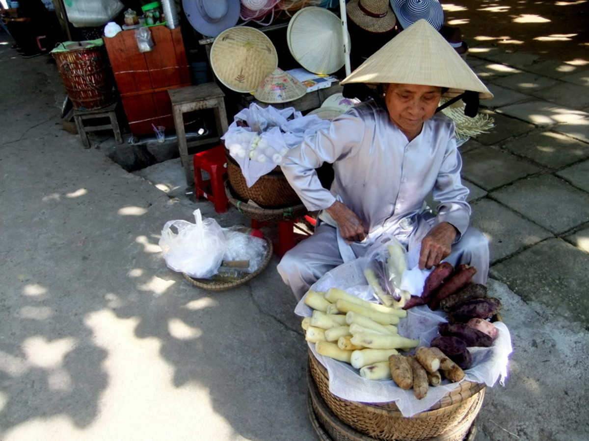My travel to Vietnam: This woman is selling not just sweet potatoes, but also tapioca