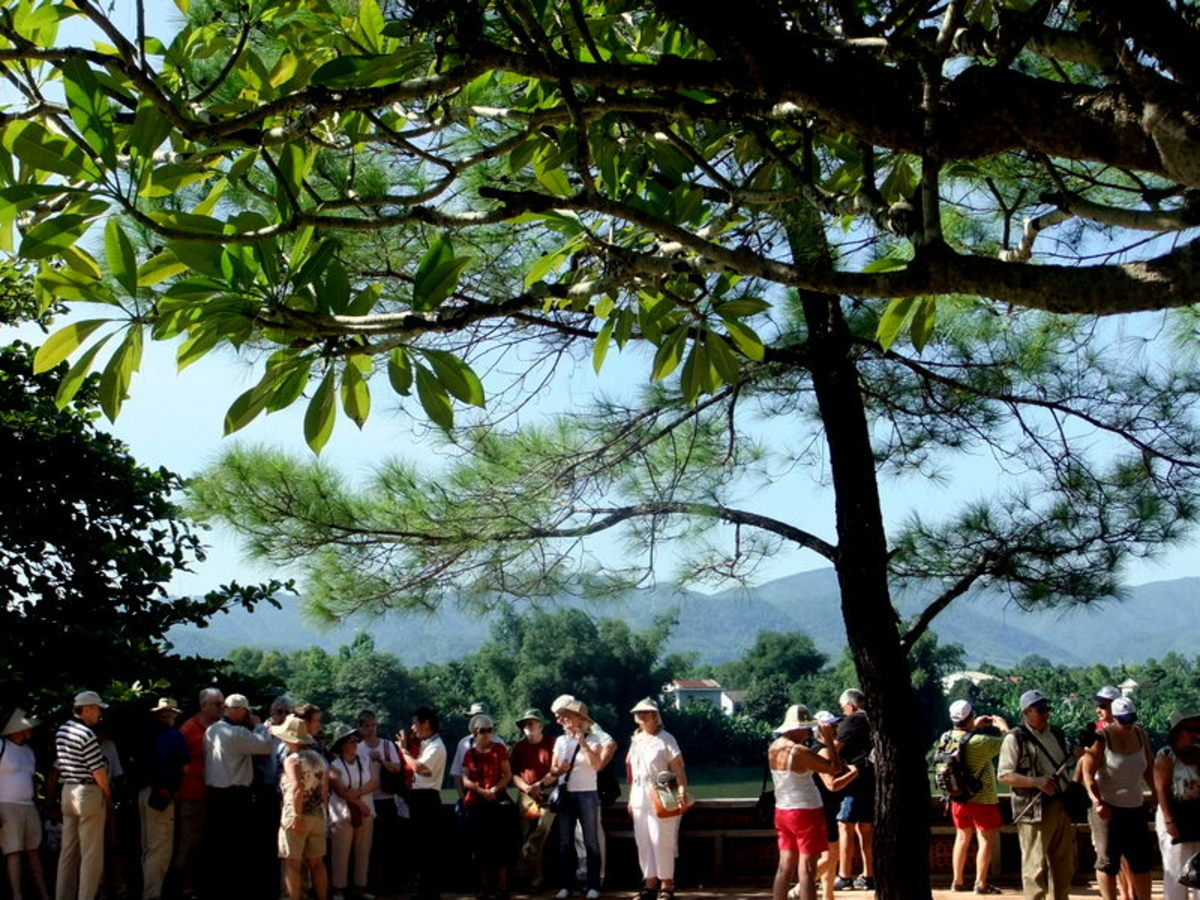 My travel to Vietnam: Tourists at Thien Mu Pagoda, Hue