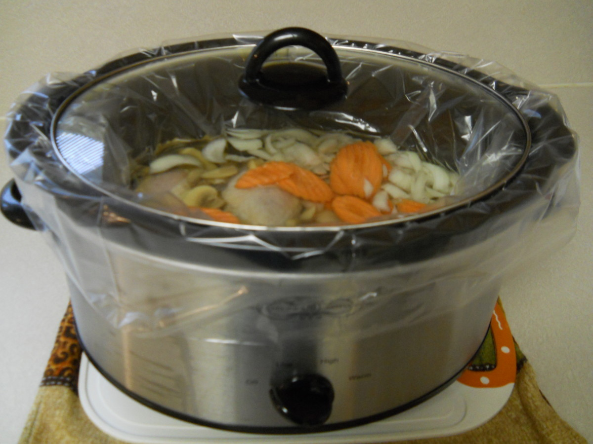 Liner is in place and food is now ready for cooking on high or low setting. It's important that the bag hangs loosely over the rim of the pot.