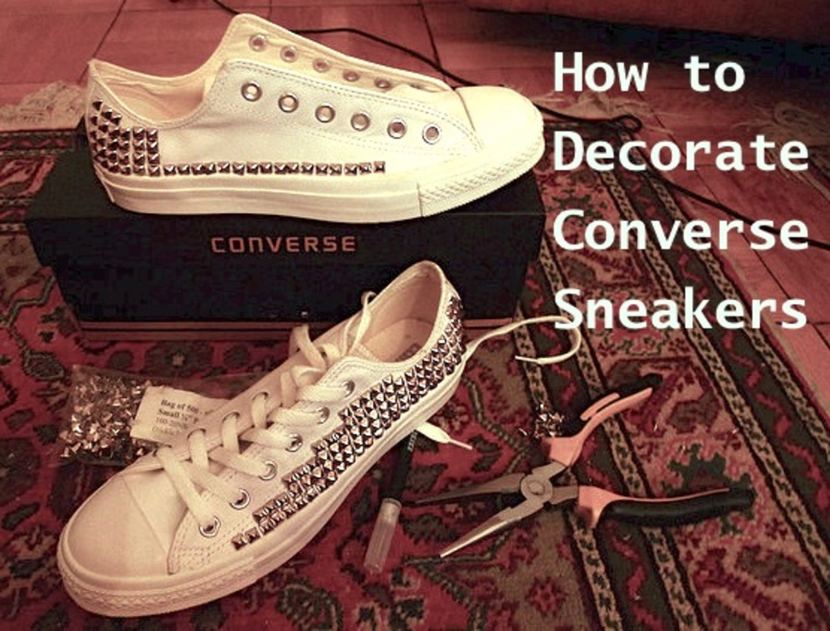 These Converse leather sneakers were hand-studded with a craft knife, needle-nose pliers, and a LOT of patience.