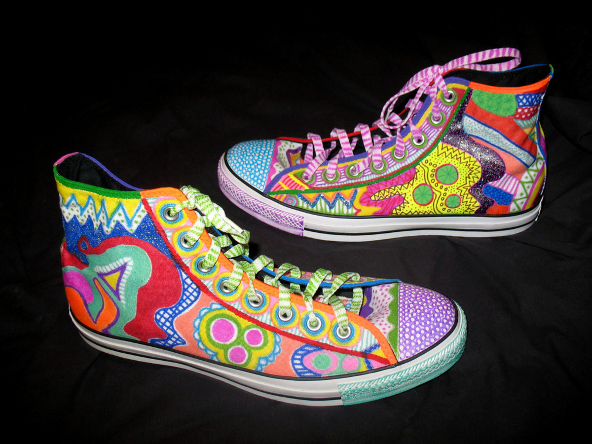 These gorgeous Chucks are handpainted in wild patterns.