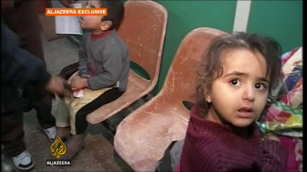 Children in Shifa Hospital, Gaza, following strikes