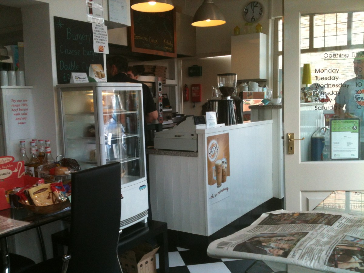 The counter at Pizzini cafe and takeaway in Bottesford, Nottinghamshire