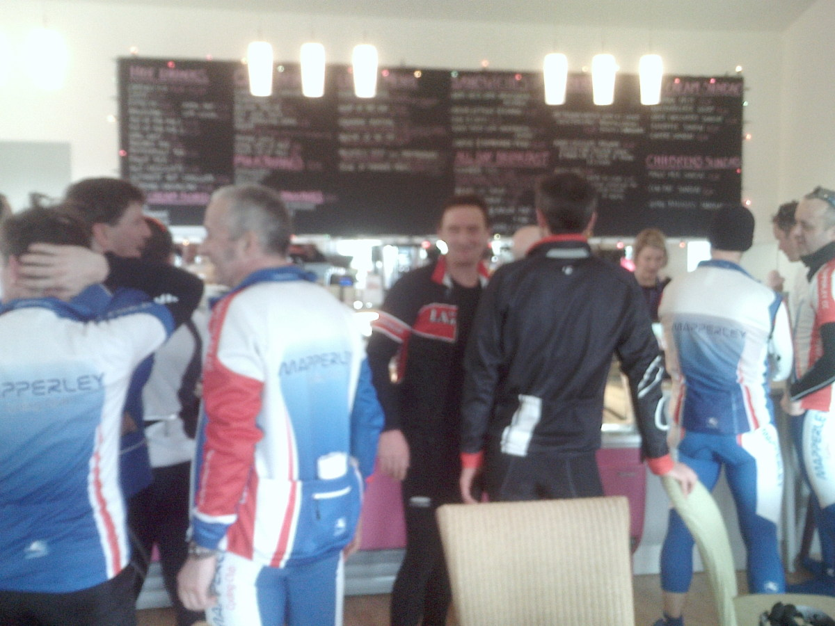 Cyclists queuing ready to order at Newfield Dairy Cafe, Hockerton near Southwell. Nottinghamshire