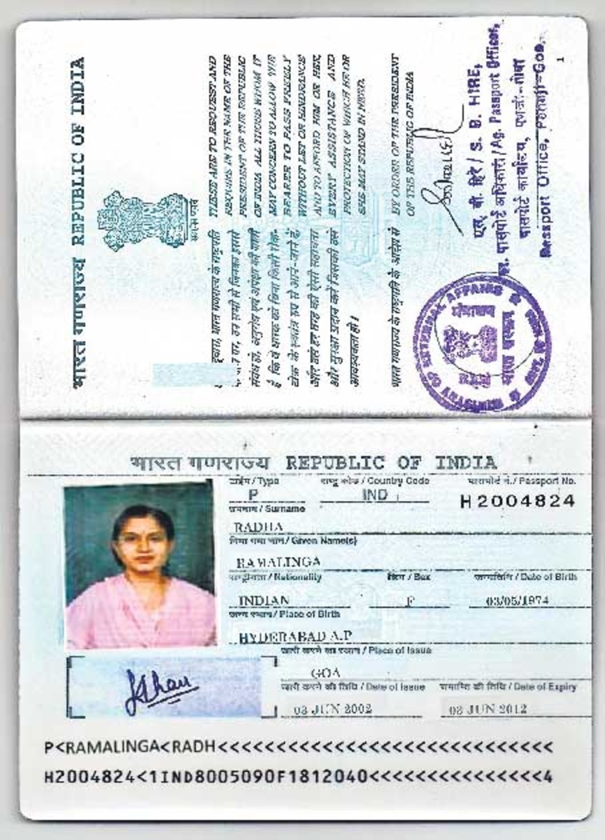 Indian passport from Inside