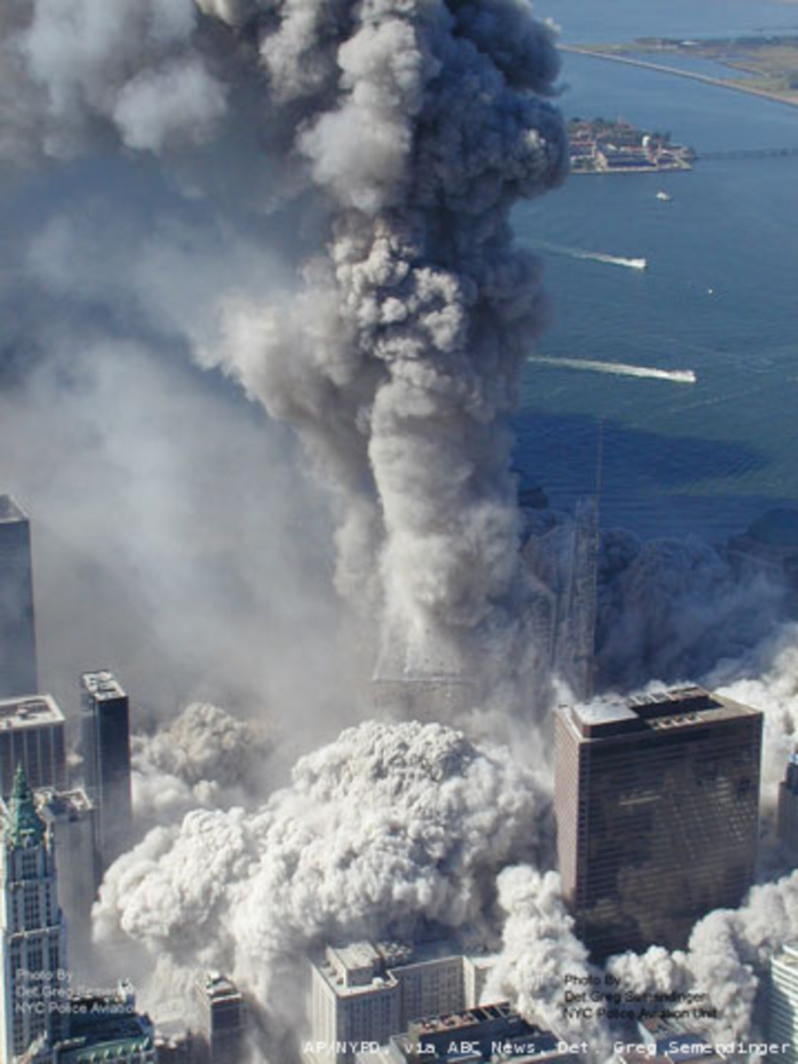 Later, both WTC 1 and WTC 2 collapsed producing what appears like a pyroclastic flow. Both buildings collapsed into their own footprint.