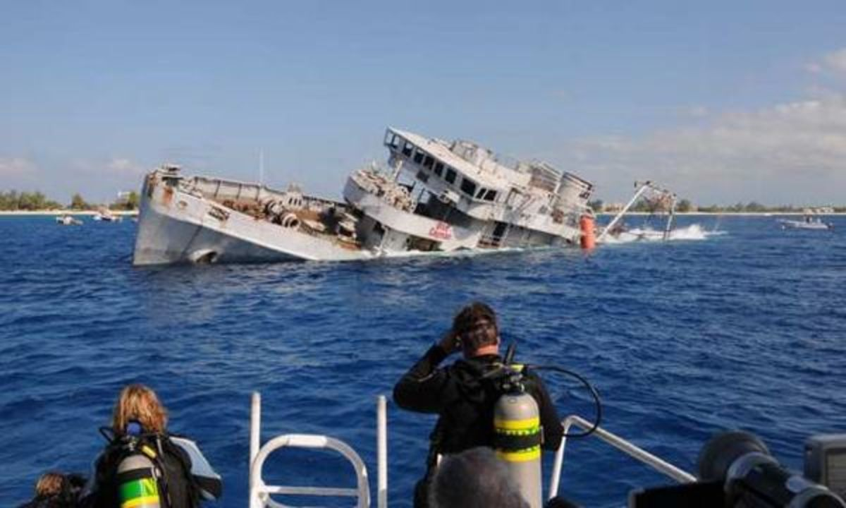 Ships that have lived out their useful life are routinely scuttled (immoderately destroyed) for various purposes. This one became part of an artificial reef.