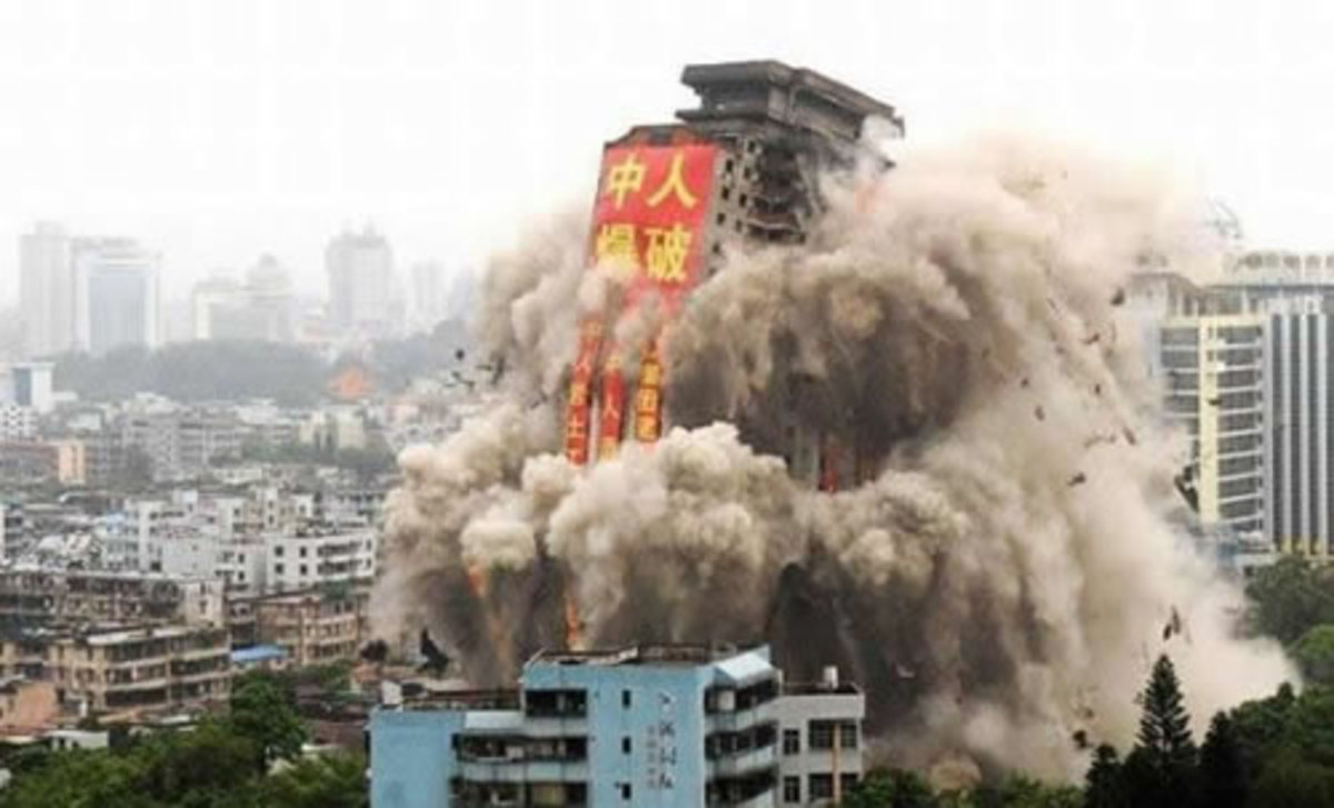 This is typical of a building that is being imploded demolished.