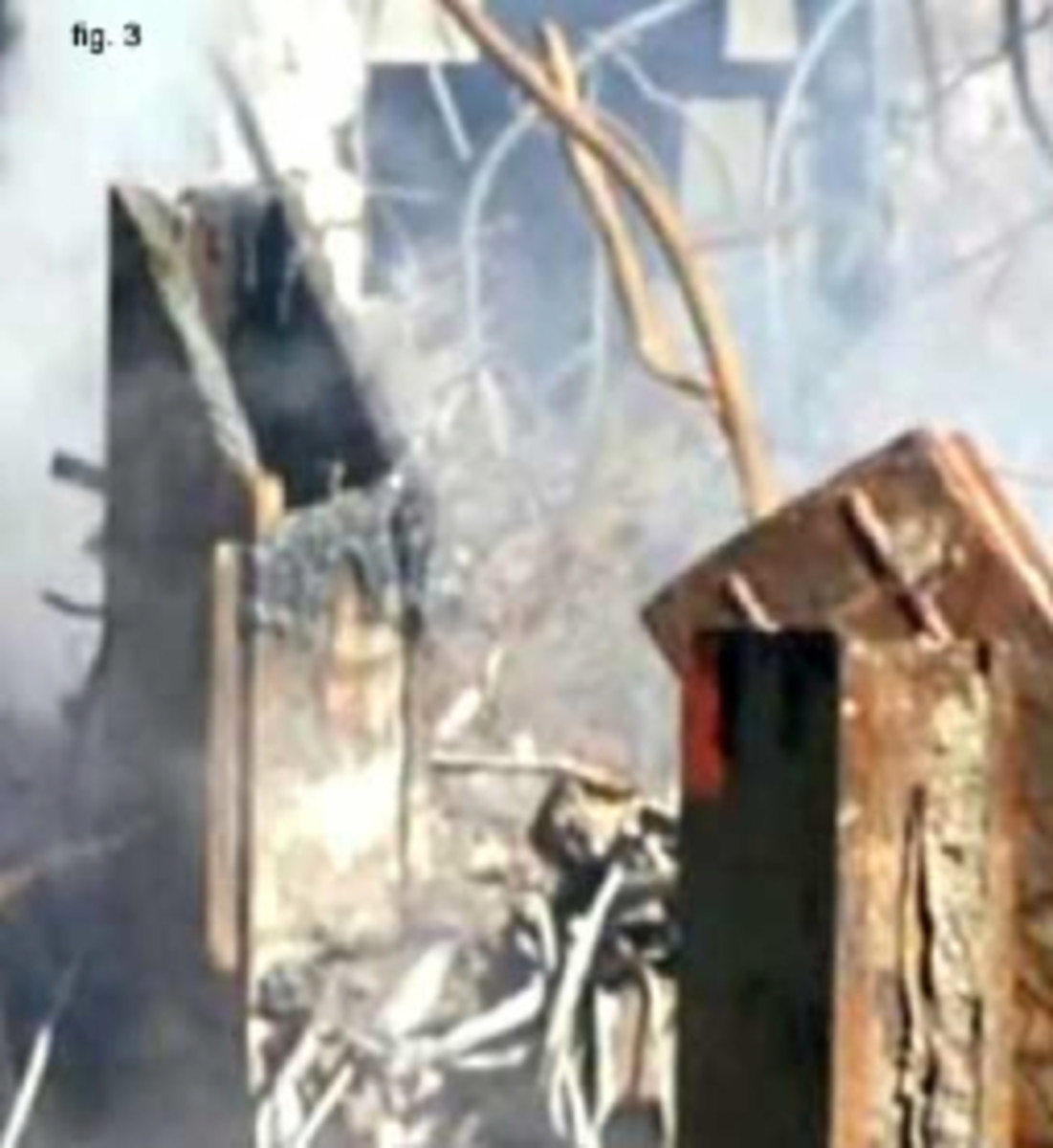 This photo in the ashes of one of the collapsed towers appeared shortly after the catastrophe. It shows a steel tube column cut at a 56 degree angle as if cut by an oxygen-acetylene torch. However, evidence showed thermite was involved.
