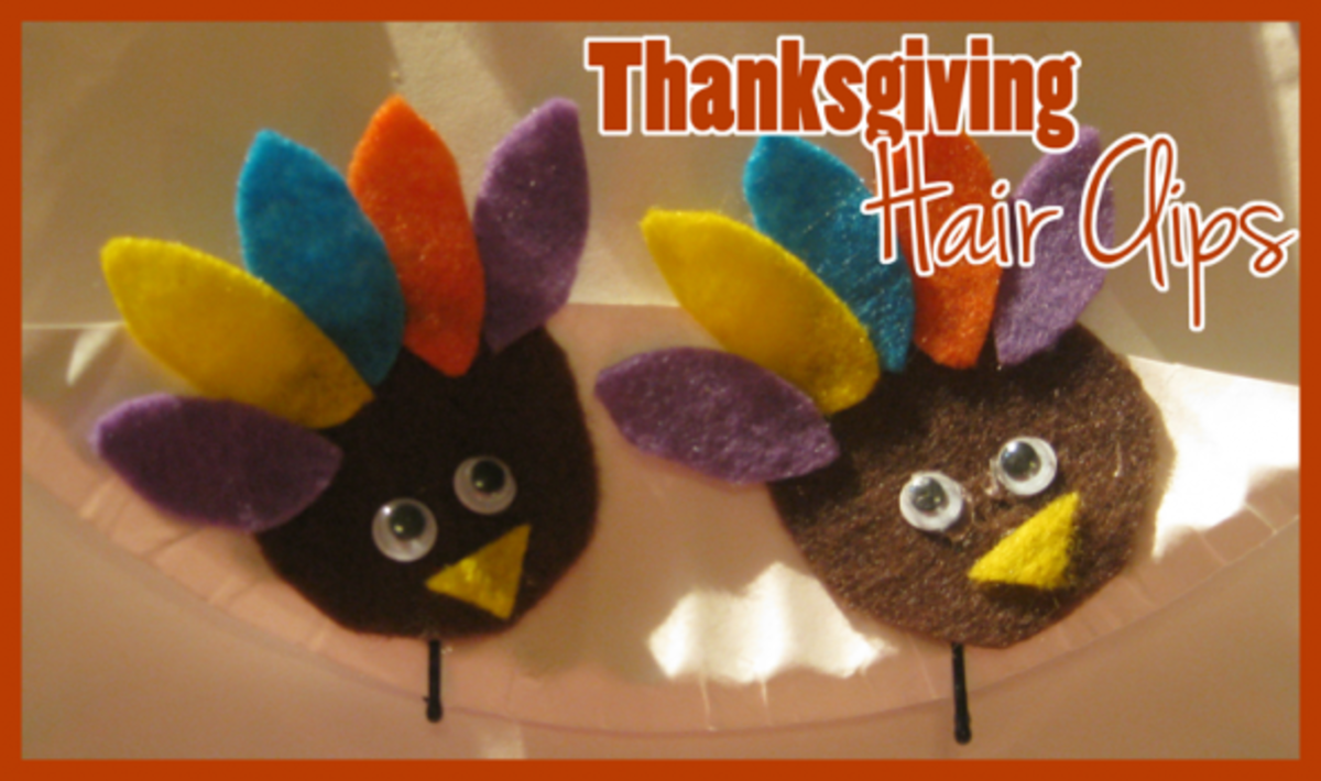 felt turkey thanksgiving hair clips