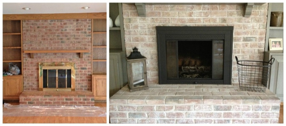 A whitewashed brick fireplace gives it a new and updated style.