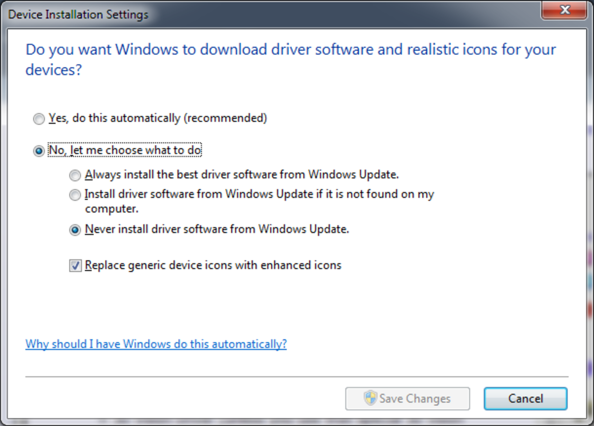Disable Automatic Driver Installation