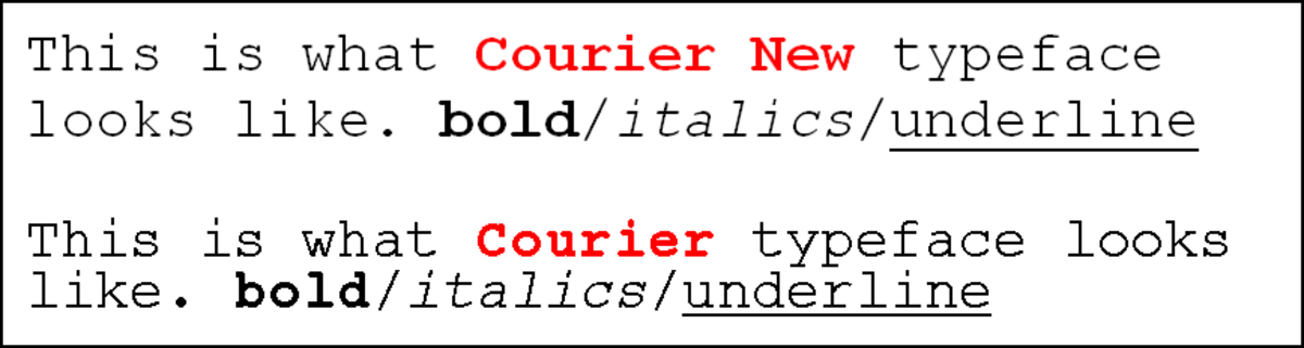 Differences between Courier and Courier New fonts