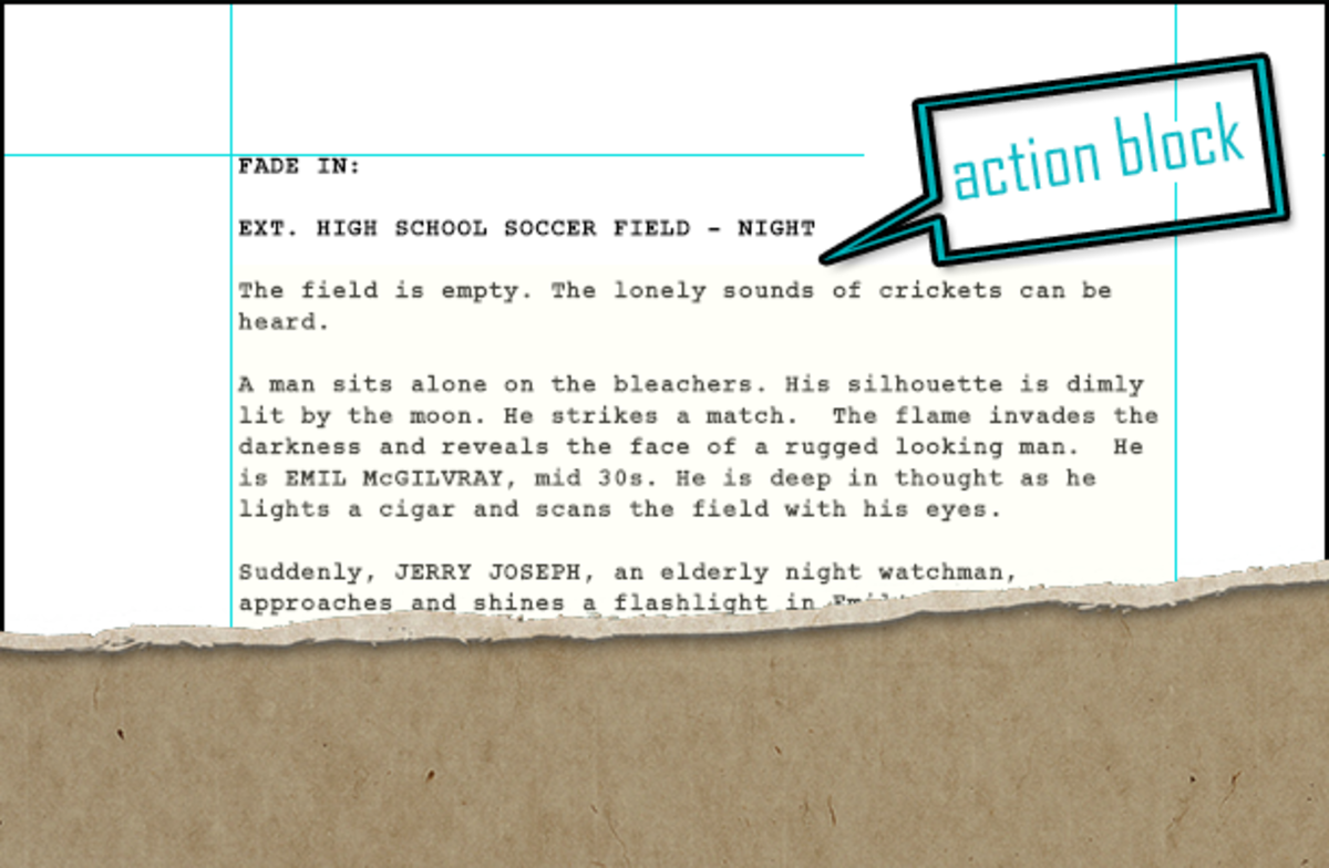 An Action Block (highlighted in light yellow) from my spec screenplay.