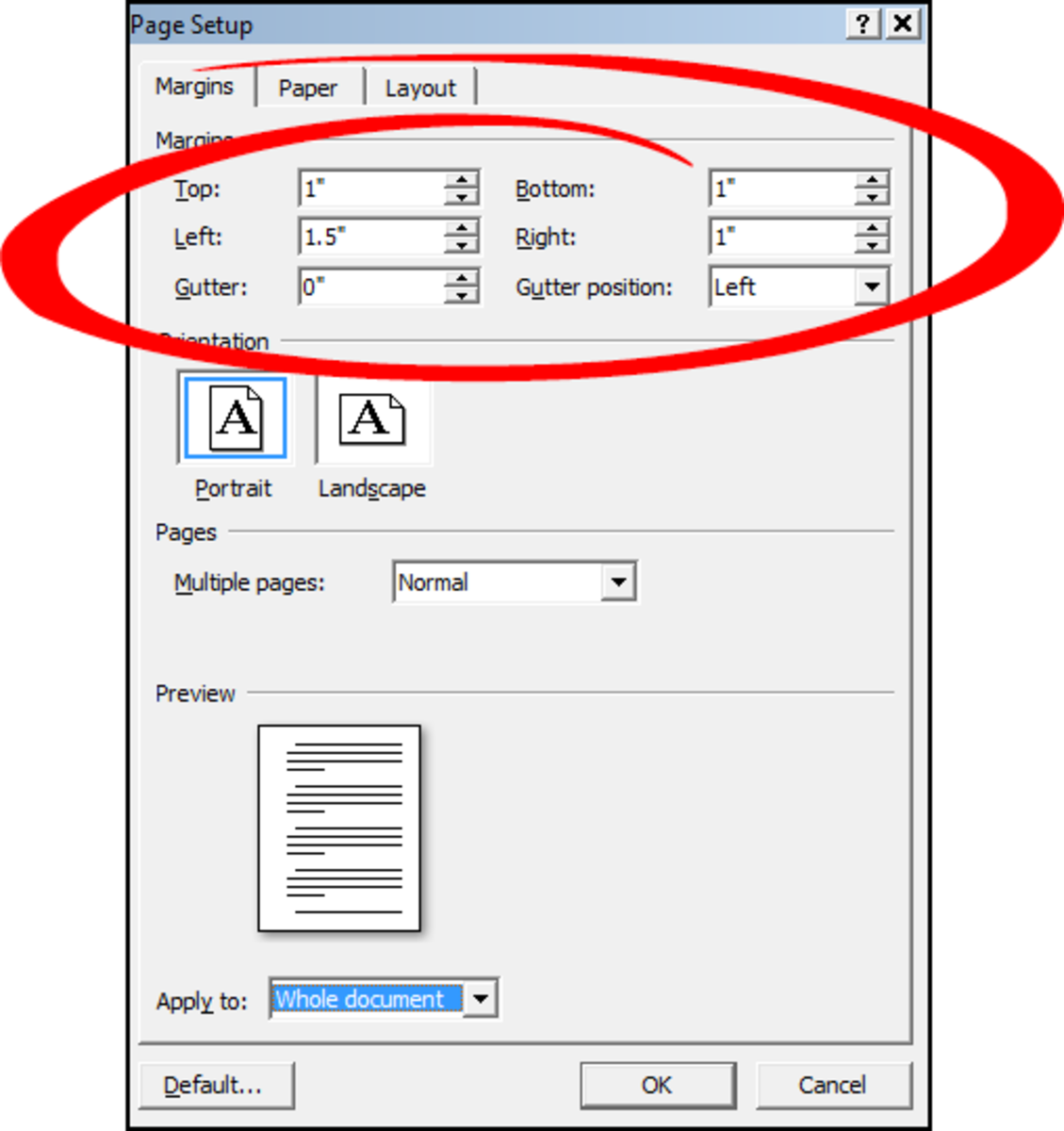 Screenplay document margins