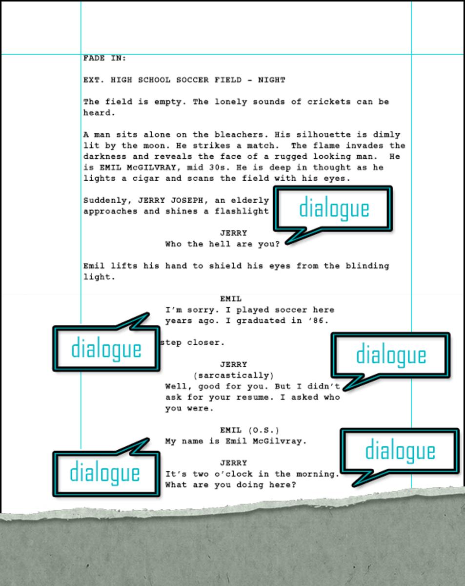 Adding dialogue to a screenplay