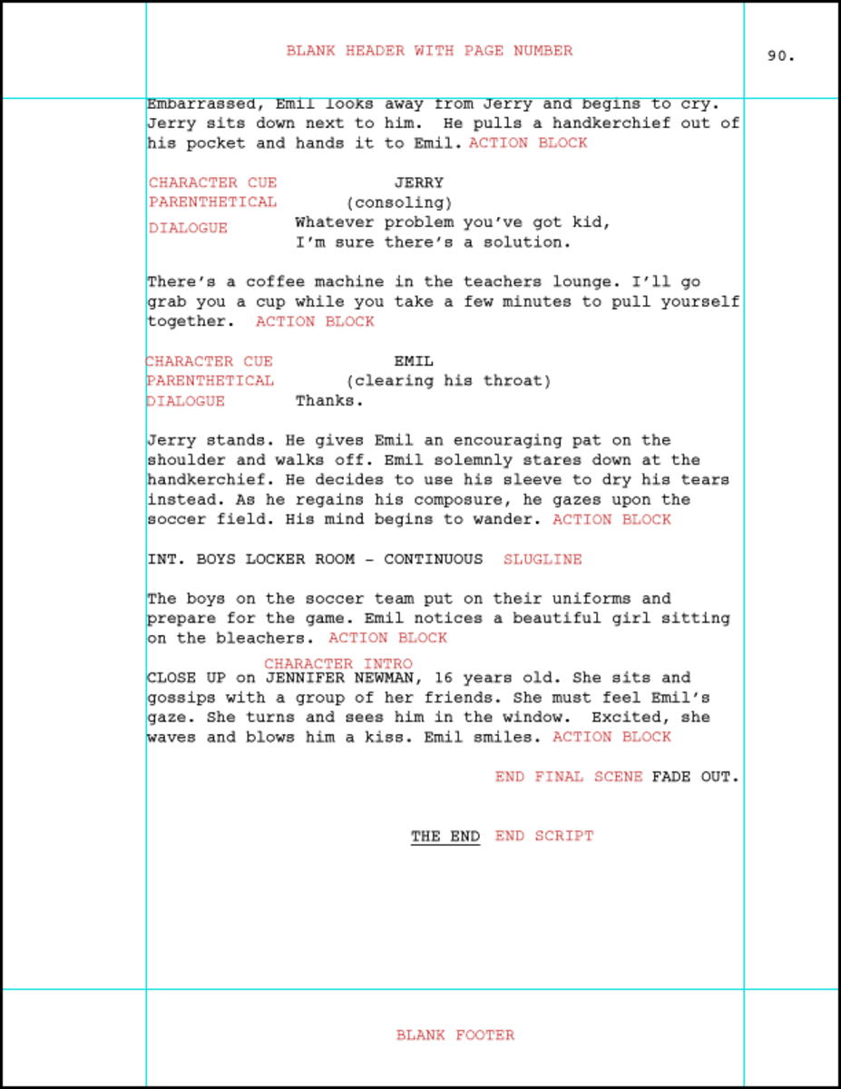 Last page of screenplay with red markup
