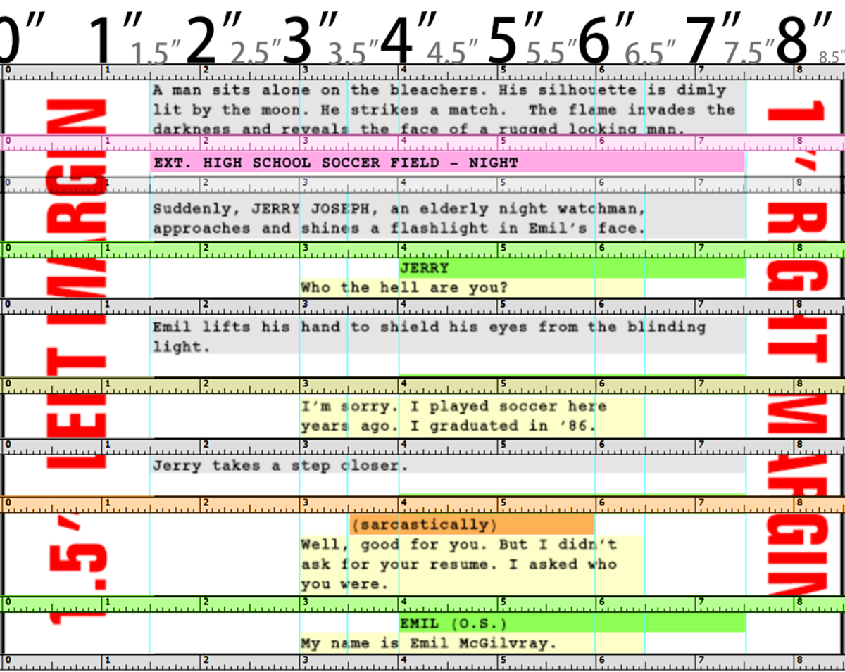"""Ruler measurements for a screenplay, based on paper size of 11"""" by 8.5"""""""
