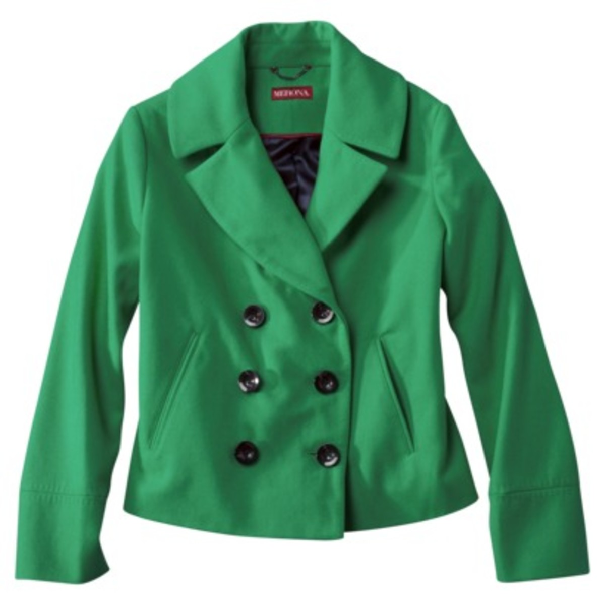 This emerald green pea coat is a perfect addition to your winter wardrobe at an affordable price point. The styling is on trend for the military trend and it's available in the color of the year!