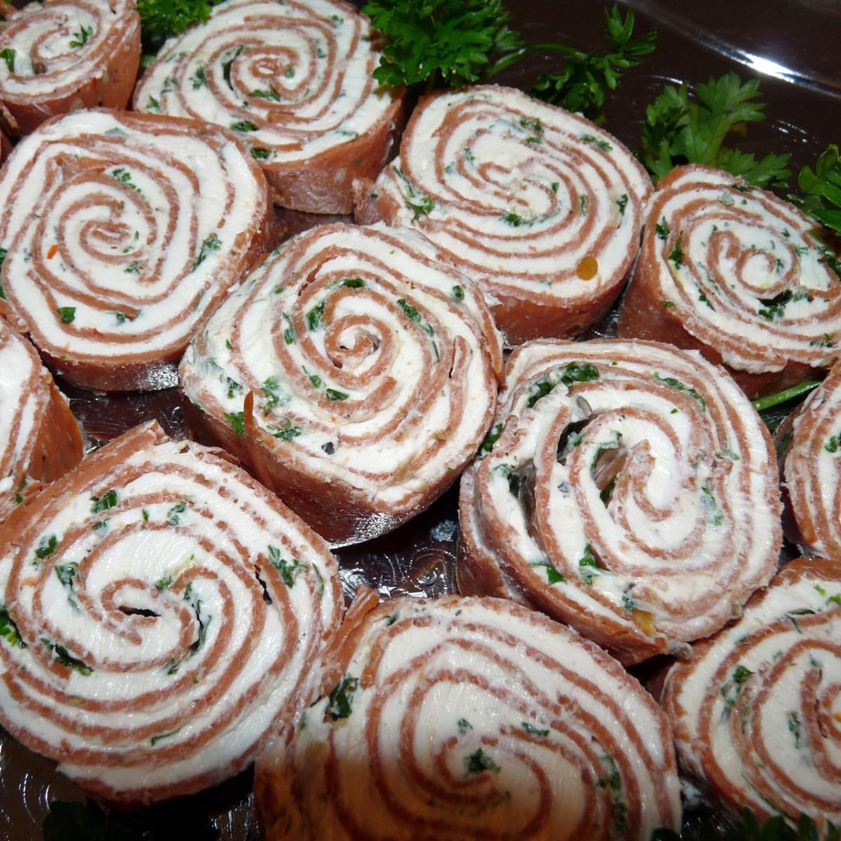 A tray of salami pinwheels
