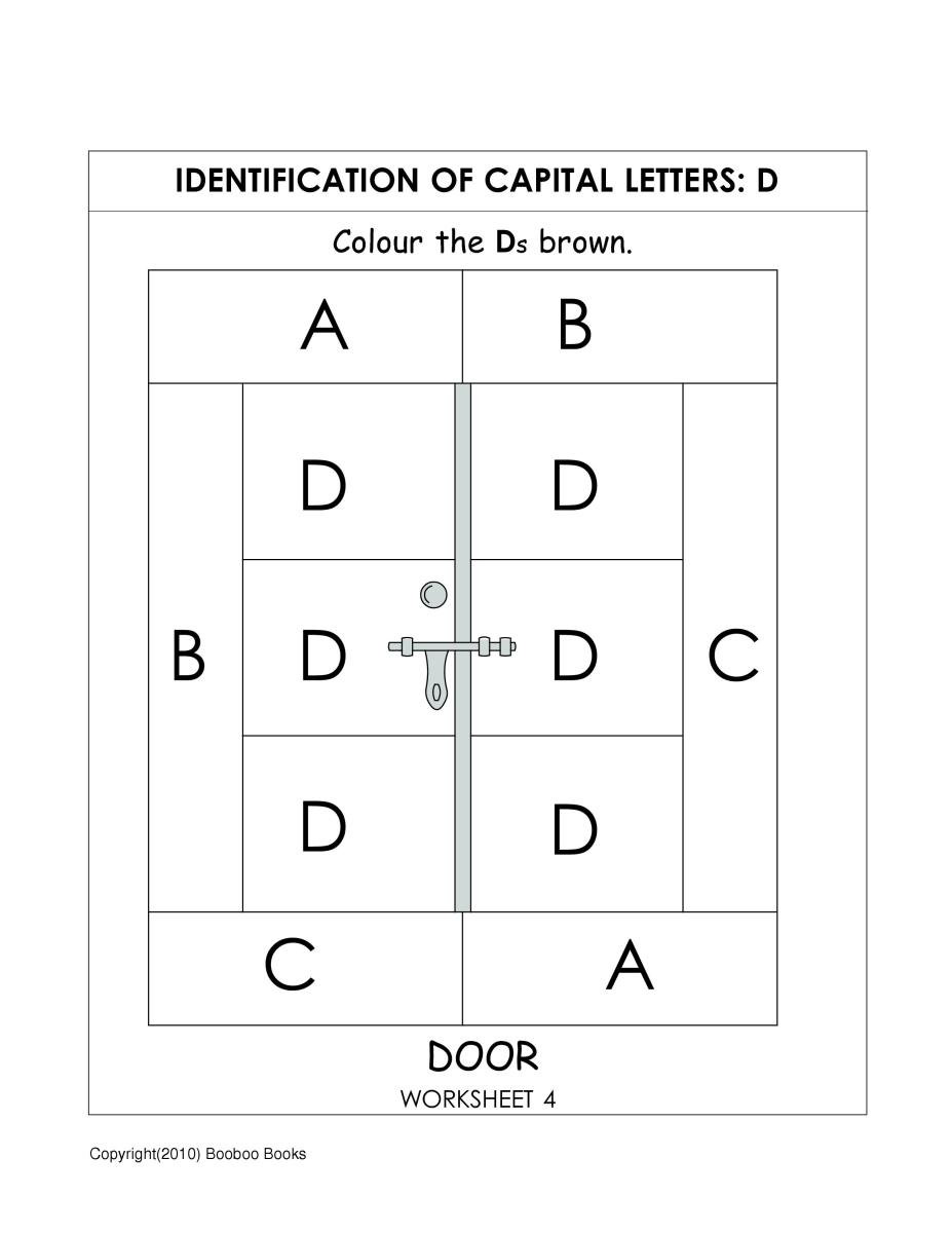 Alphabet worksheet for kindergarten to identify the letter D