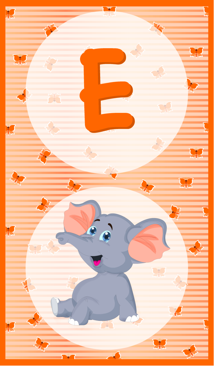 An alphabet flashcard to learn the letter E