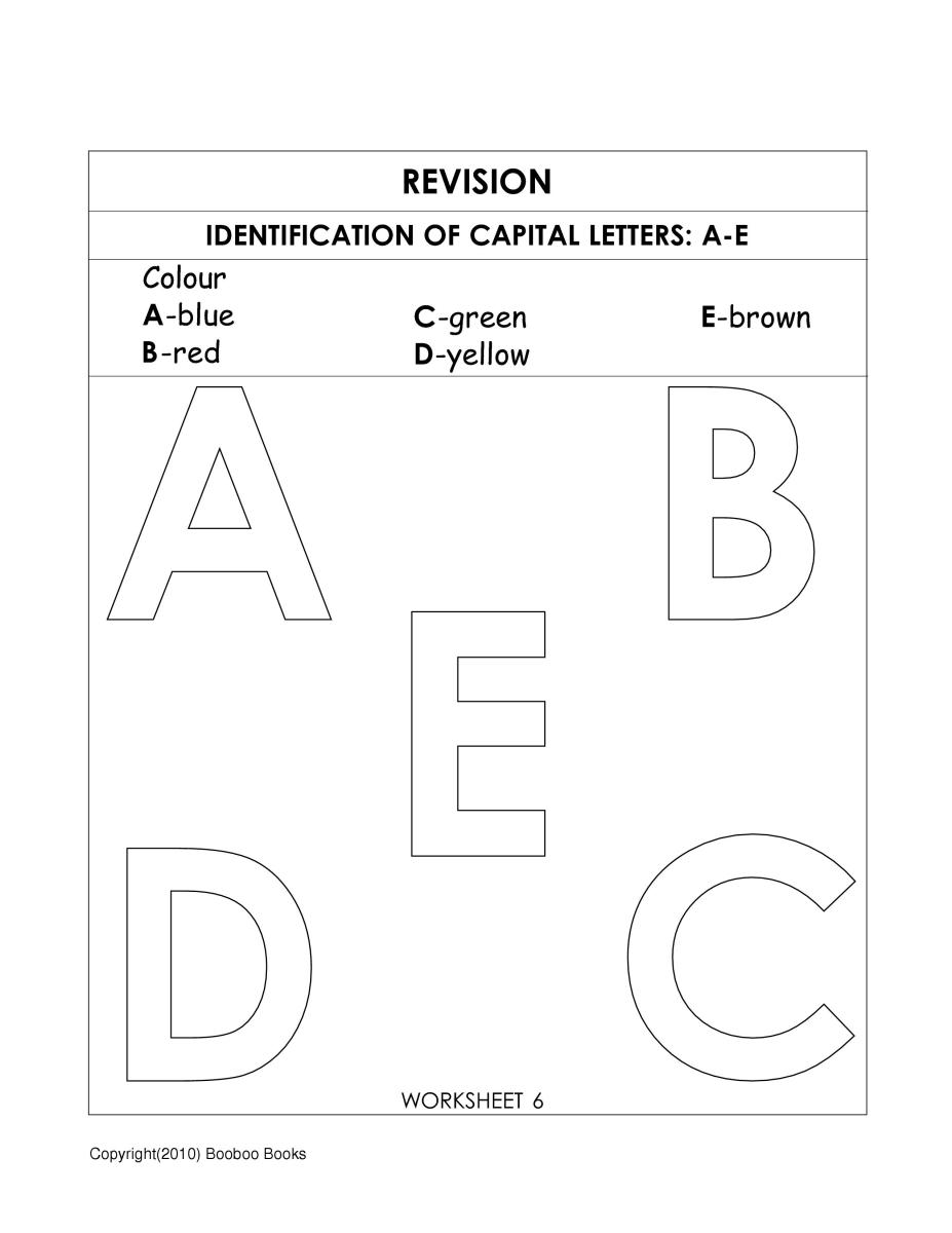 Kindergarten alphabet worksheet to identify the letters A,B,C,D & E