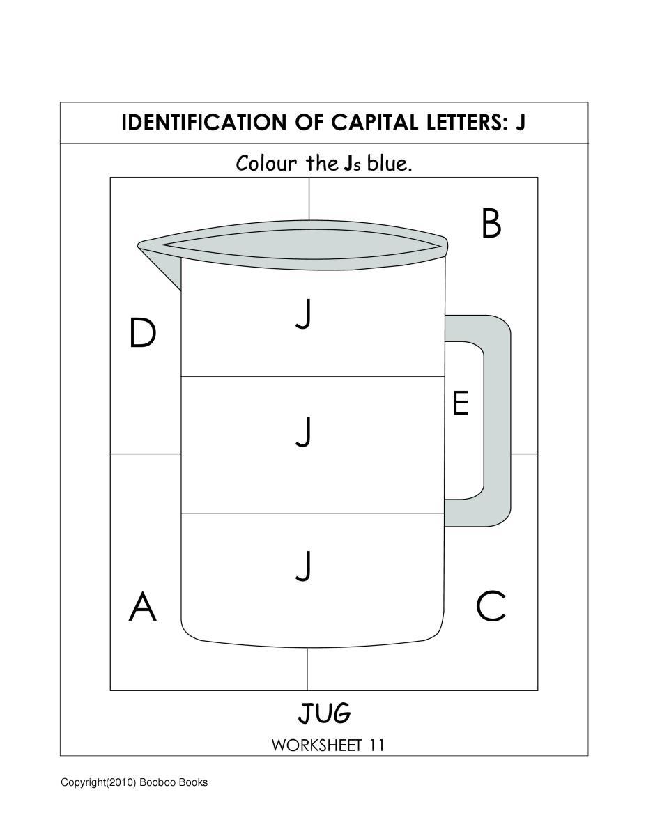 Kindergarten alphabet worksheet to identify the letter J