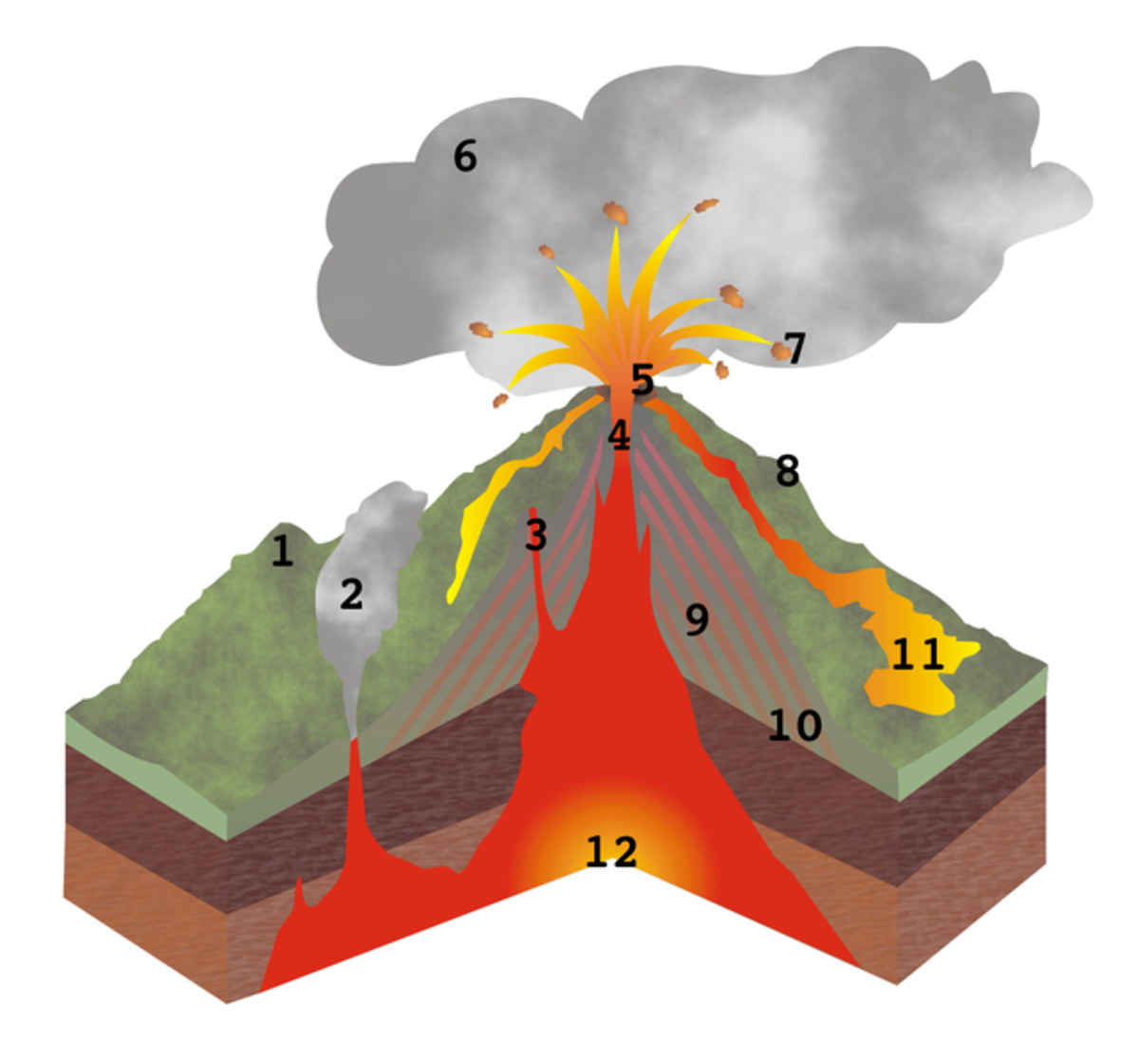 Volcan cross section. 1-Inactive volcan; 2-Fumarole; 3-Secondary volcanic pipe; 4-Volcanic pipe; 5-Crater; 6-Ash cloud; 7-Volcanic bomb; 8-Volcan cone; 9-Ash bed; 10-Solid lava flow; 11-Lava flow; 12-Magmatic chamber.