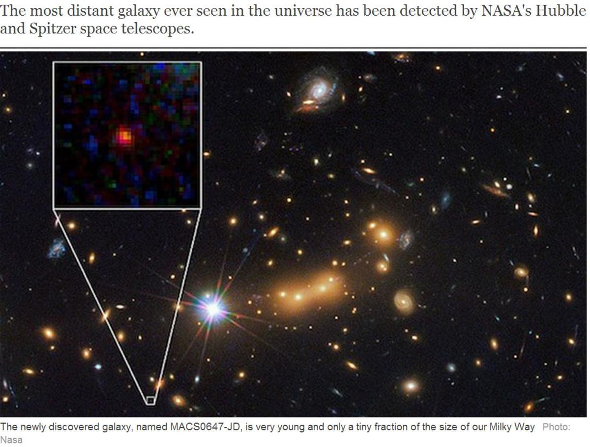 Galaxy MACS0647-JD is 13.3 billion LY away and yet is still visible. Why hasn't it redshifted outside the visible spectrum after a time of 13.3 BY + expansion of space??  Also notice blue and yellow-shifted galaxies. Doppler Shift contradicts itself!