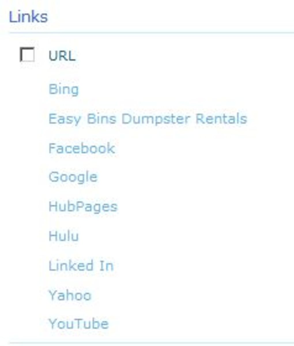 A typical list of links sorted in alphabetical order