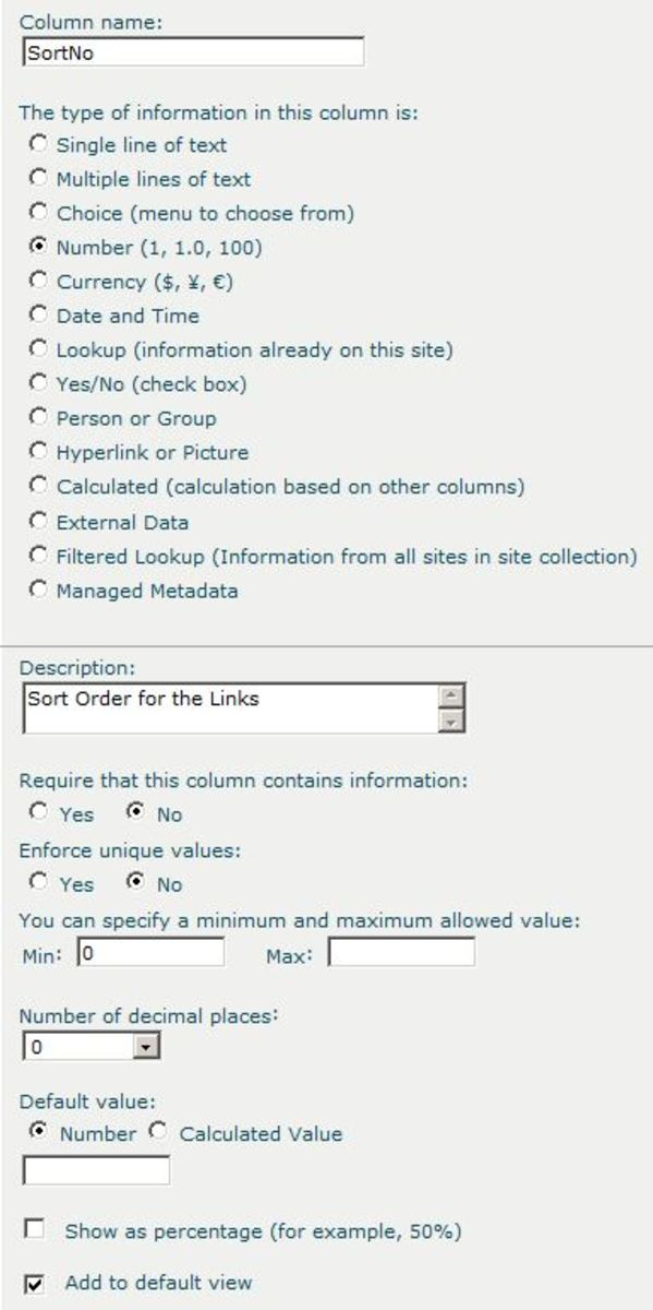 Add a number column to the Links list to allow for custom sorting