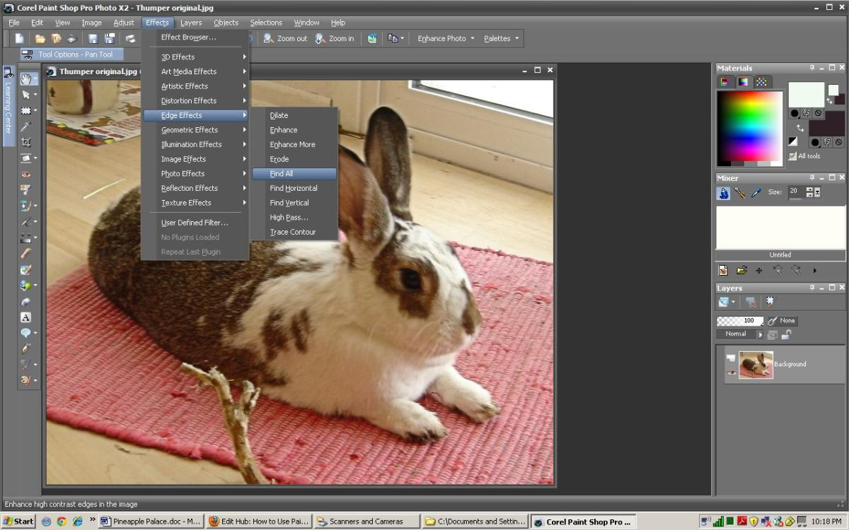 """Edge Effects menu. Select """"find all"""" to find all the edges in the photo."""