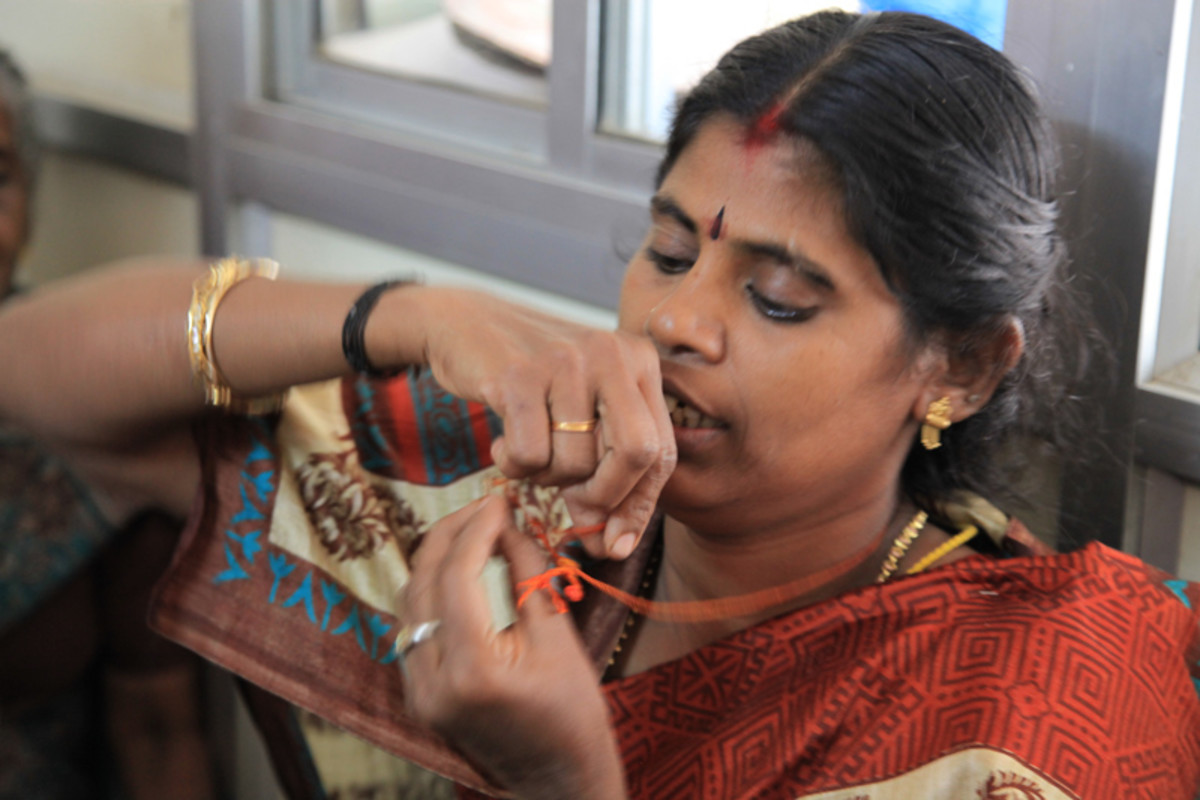 """""""The thread was wrapped around the gold pendant which was buried in the sweet."""" Meenakshi shows how it exactly was."""