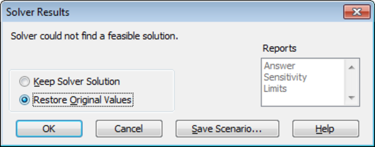 Illustration of the Solver tool with a what-if analysis with no solution.