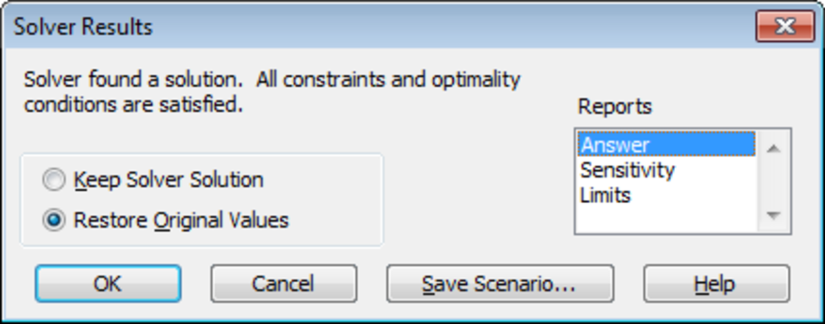 Configuring the Solver Results for your what-if analysis in Excel 2007, including selecting the appropriate reports.