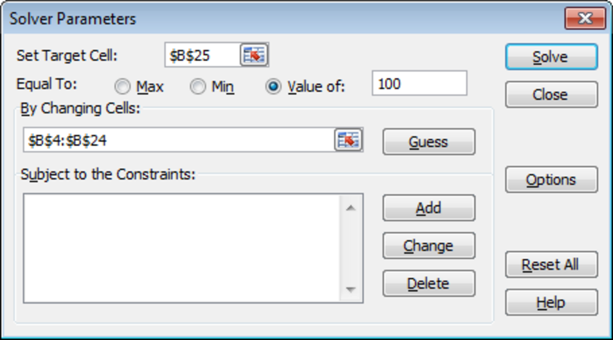 Configuring the Solver tool parameters for what-if analysis in Excel 2007 and Excel 2010.
